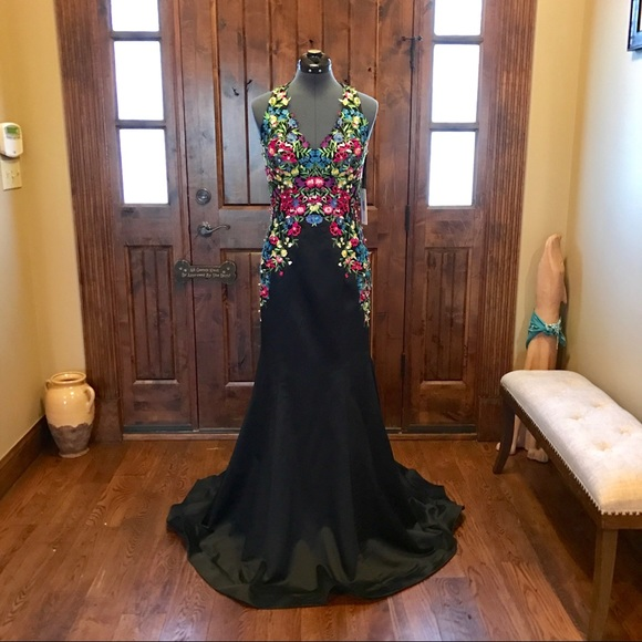 77510f9a201 JVN Jovani Black Floral Mermaid Prom Dress! NEW!